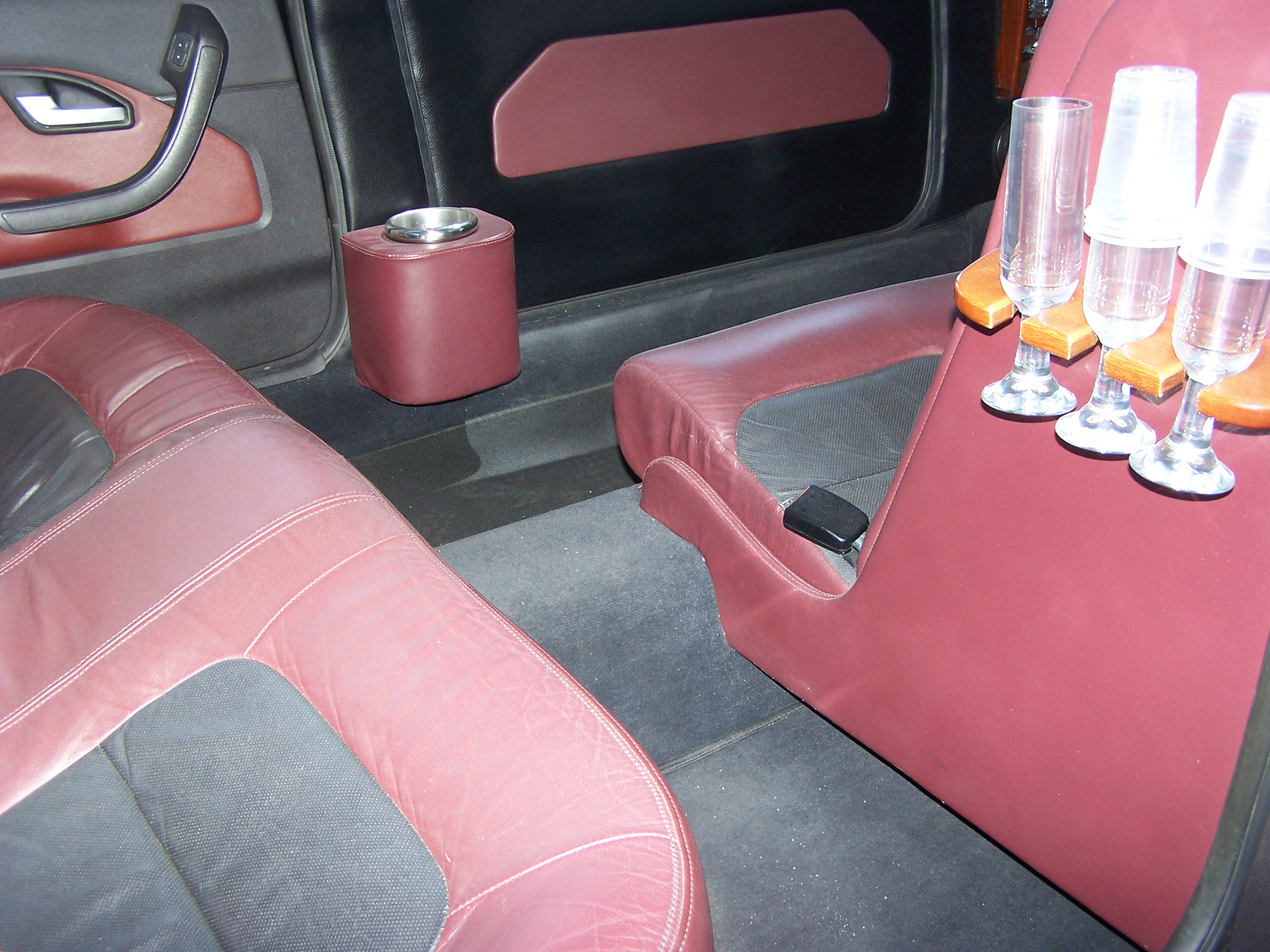 Luxury Leather Interior with Cocktail Bar.